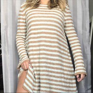 Free People Knit Long Sleeve Stripe Dress M